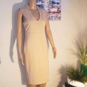 Sleeveless Dress Cream Slit Hem